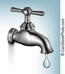 vektor, illustr, kran, droppe, vatten