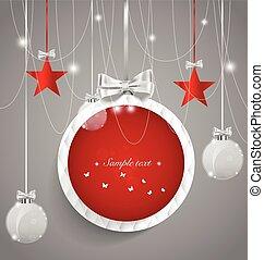 vektor, illustra, decorations., hintergrund, weihnachten