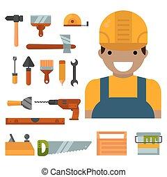 vektor, illustration., épület, munkás, felszerelés, szerkesztés, ezermester, eszközök, helyreállítás