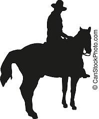 vektor, illustration, 10, silhuett, eps, cowboy, häst