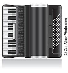 vektor, illustration, accordion