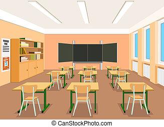 vektor, illustration, av, en, tom, klassrum