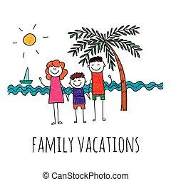 vektor, illustration, av, familjvacation