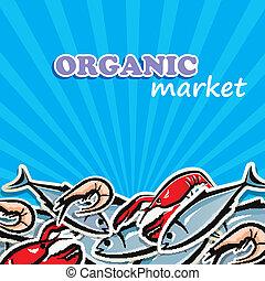 vektor, illustration, av, seafood., organisk mat, begrepp