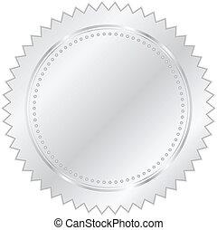 vektor, illustration, av, silver, försegla