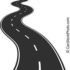 vektor, illustration, av, slingrig road