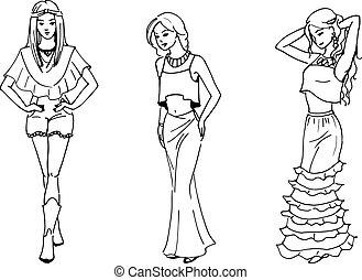 vektor, illustration, av, tre, vacker, mode, flicka