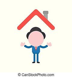 vektor, illustration, begrepp, av, ansiktslös, affärsman, tecken, under, hus, tak