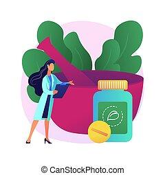 vektor, illustration., begrepp, homeopati, abstrakt
