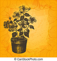 vektor, illustration., blomst