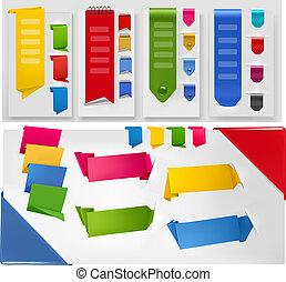 vektor, illustration., bunte, sammlung, papier, origami, banner, stickers.