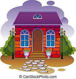 vektor, illustration, cottage.