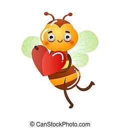 vektor, illustration, flygning, holdingen, rött hjärta, bi, räcker