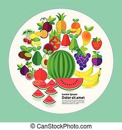 vektor, illustration, frukter