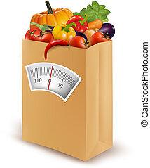 vektor, illustration., gesundes essen, papier, diet., frisch, bag.