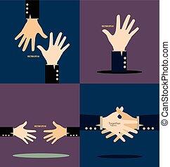 vektor, illustration., hands.
