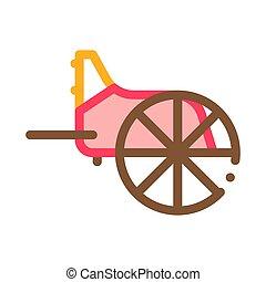 vektor, illustration, hjul, ikon, skissera, grek, trä