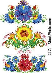 vektor, illustration, i, blomster