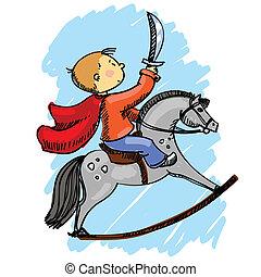 vektor, illustration, i, en, dreng, på, en, hest