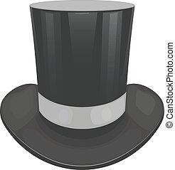 vektor, illustration, i, en, sort, cylinder, hat, på, en,...