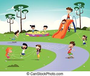 vektor, illustration, i, glade, cartoon, børn
