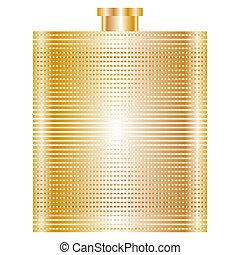 vektor, illustration, i, guld, lommeflaske