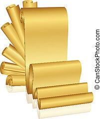 vektor, illustration, i, guld, scroller
