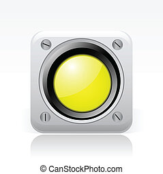 vektor, illustration, i, singel, isoleret, gul, trafik lys,...