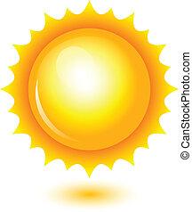 vektor, illustration, i, skinnende, sol