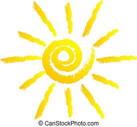 vektor, illustration, i, sol