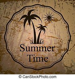 vektor, illustration, i, sommerferie, logo