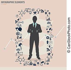 vektor, -, illustration, infographic, design, ansökan, mall, affärsman, moln