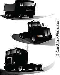 vektor, illustration, lastbilar