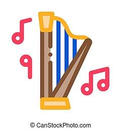 vektor, illustration, musikalisk, ikon, skissera, harpa