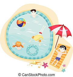 swimming pool - vektor illustration of a swimming pool