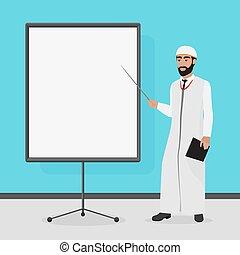 vektor, illustration., presentation., arabisch, geschäftsmann, karikatur