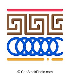 vektor, illustration, prydnad, ikon, skissera, grek