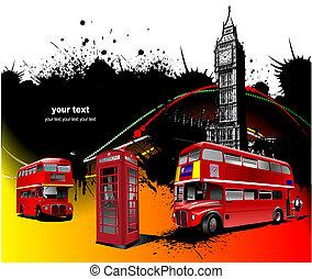 vektor, illustration, raritet, images., london, röd
