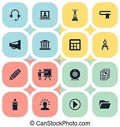 vektor, illustration, sätta, av, enkel, utbildning, icons., elementara, resehandbok, start, orator, och, annat, synonyms, föreläsare, geometri, och, guidebook.