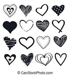 vektor, illustration, sätta, hjärtan