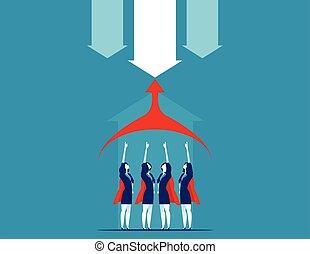 vektor, illustration., team., superbusiness, begreb, firma