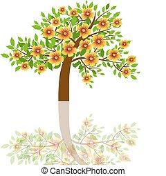 vektor, illustration, träd, -