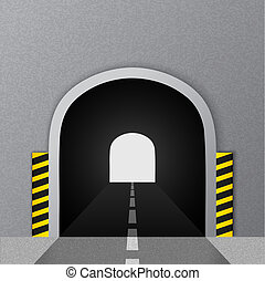 vektor, illustration., vej, tunnel.