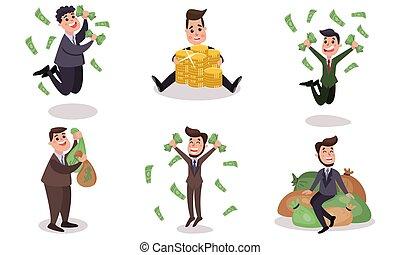 vektor, illustrationen, satz, geld, besessenheit, zeichen, karikatur, begriff