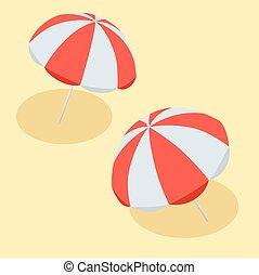 vektor, ilustrace, najet na břeh letecká ochrana, červeň, a, white., ta, znak, o, jeden, dovolená, do, ta, sea., byt, 3, vektor, isometric, ilustrace, pláž, umbrella.