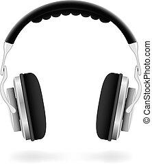 vektor, ilustrace, o, ateliér, sluchátka