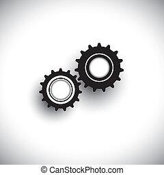 vektor, ilustrace, o, cogwheels, do, 3, moving, tandem, spolu., ta, grafický, zpodobnit, pojem, o, zůstatek, a, synchrony