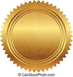 vektor, ilustrace, o, gold spečetit