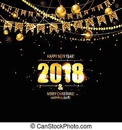 vektor, ilustrace, o, happy new year, 2018