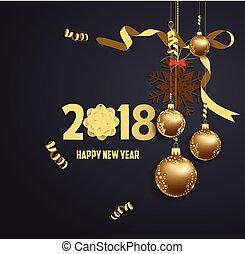 vektor, ilustrace, o, happy new year, 2018, zlatý, a, čerň, barvy, bydliště, jako, text, vánoce, kule